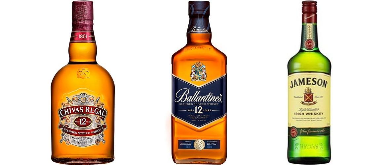 Kit Degustação 1l - 1 Whisky Jameson 1L + 1 Whisky Chivas Regal 12y 1L + 1 Whisky Ballantines 12y 1L  - DQ Comércio