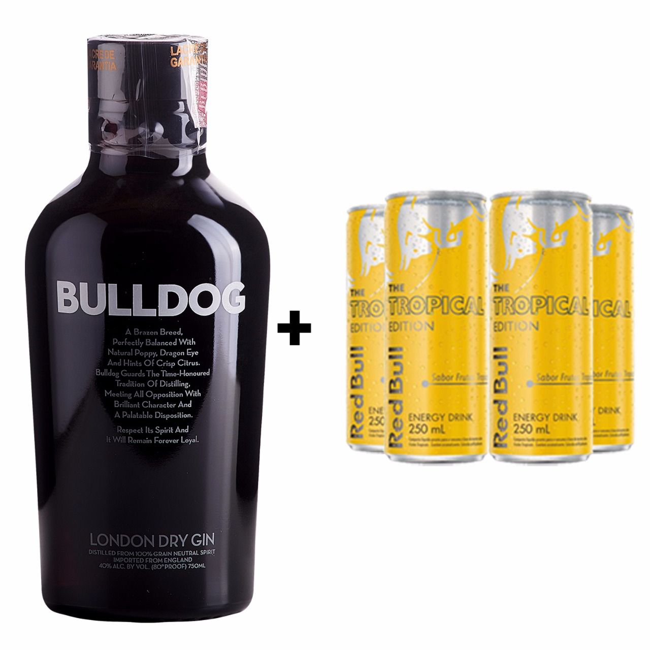 Kit Gin Bulldog 750ml + Red Bull Tropical 250ml  - DQ Comércio