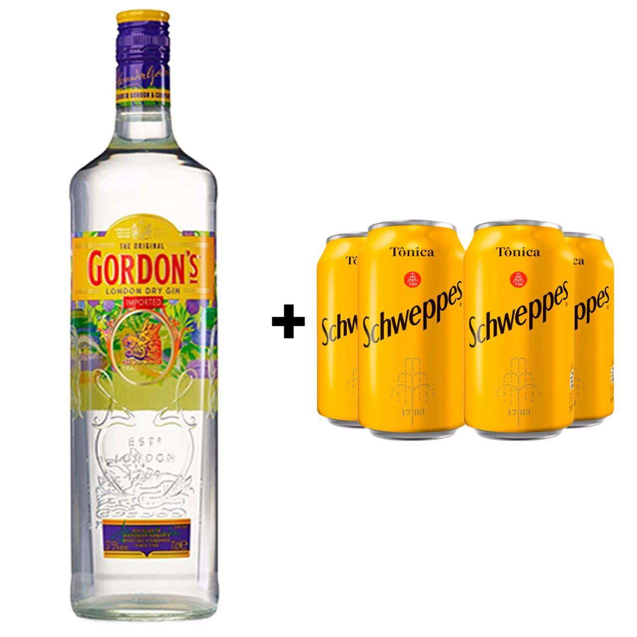 Kit Gin Gordon 750ml + 4 Tônica Schweppes 350ml  - Deliciando Quitanda