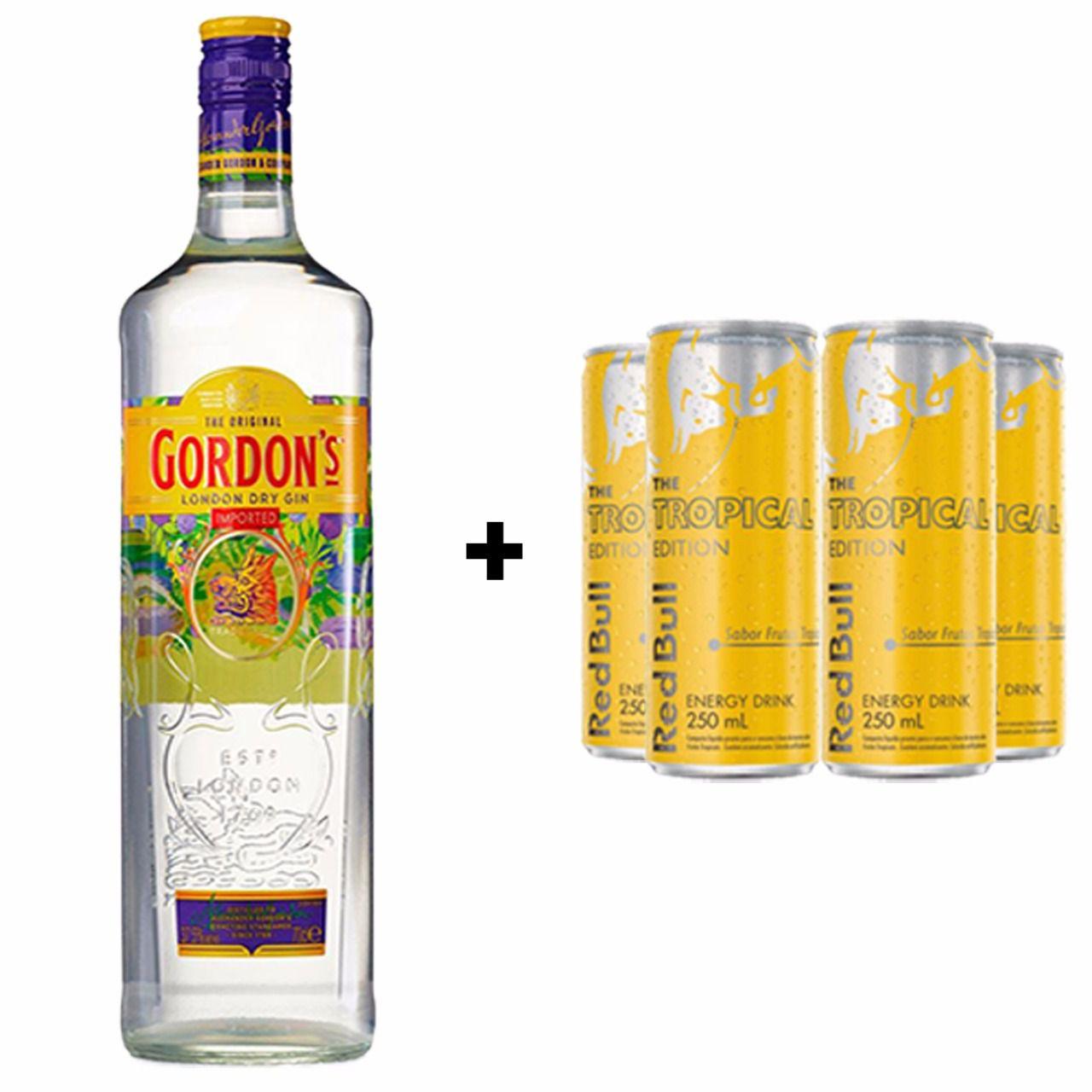Kit Gin Gordon 750ml + Red Bull Tropical 250ml  - DQ Comércio