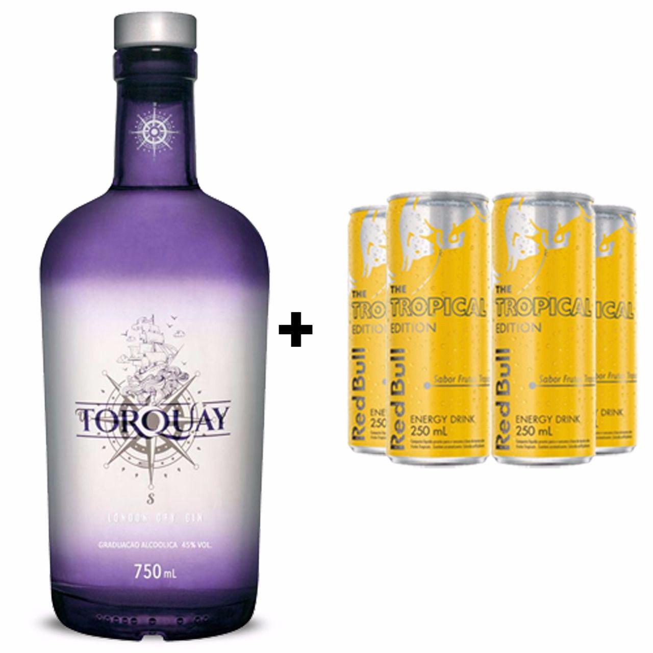 Kit Gin Torquay 750ml + Red Bull Tropical 250ml  - DQ Comércio