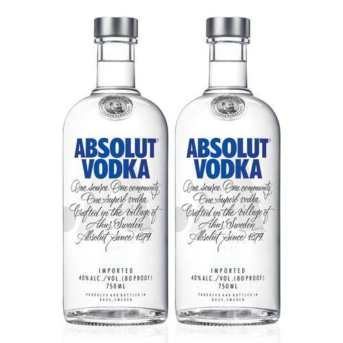 Kit Vodka Absolut Original 750ml - 2 Unidades  - DQ Comércio