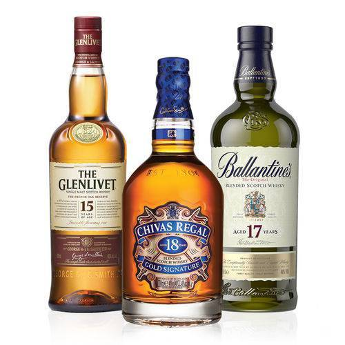 Kit Whisky Ballantines 17 Anos 750ml   Whisky Chivas Regal 18 Anos 750ml   Whisky The Glenlivet 15 Anos  - Deliciando Quitanda