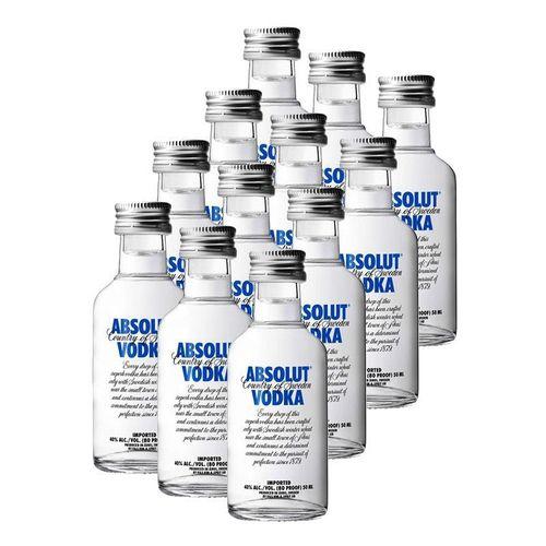 Mini Vodka Absolut 50ml Natural Miniatura Mini Garrafa Kit 12 Unidades  - DQ Comércio