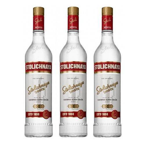 Vodka Stolichnaya 750ml 03 Unidades  - Deliciando Quitanda