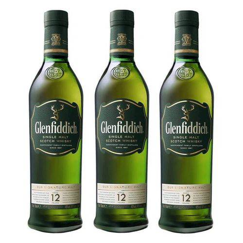 Whisky Glenfiddich 12 Anos 750ml Com Cartucho 03 Unidades  - Deliciando Quitanda