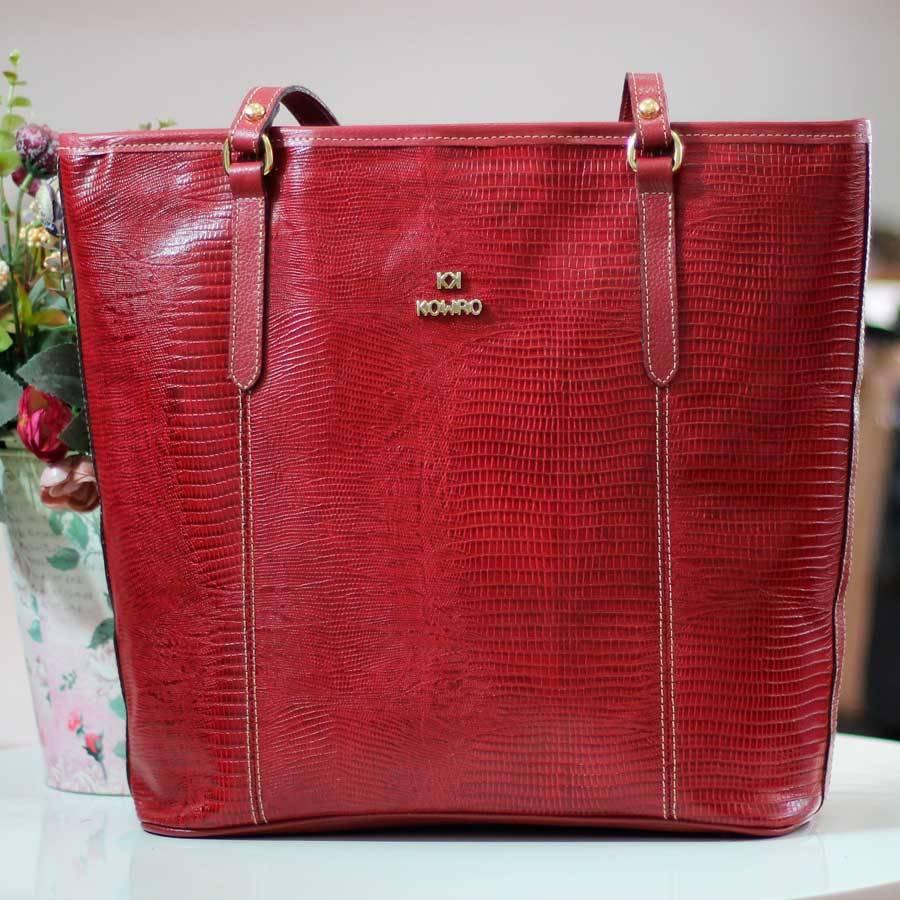 Bolsa De Couro Legítimo Feminina Alça Única 1560 Vermelha