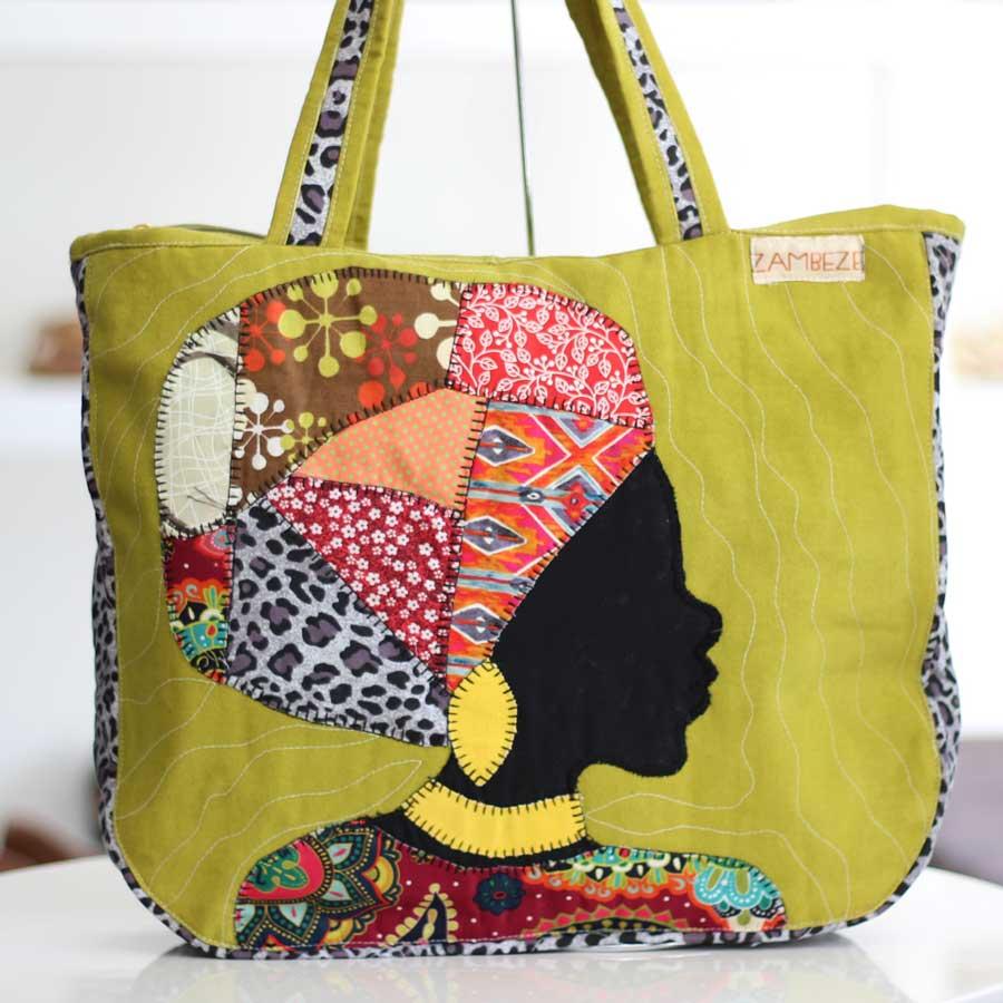 Bolsa Feminina Clube Praia De Tecido Patchwork  Retalho Imagem Africana 9