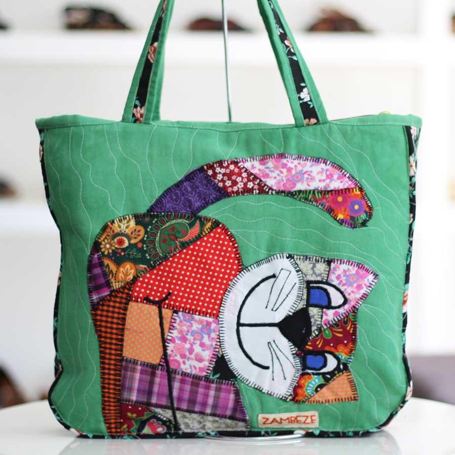 Bolsa Feminina Clube Praia De Tecido Patchwork  Retalho Imagem Gato 3