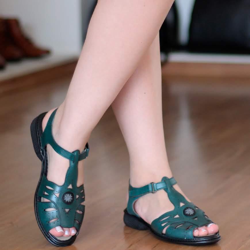 Sandália Em couro Confortável  Estilo Retrô Vintage Verde DZ0003