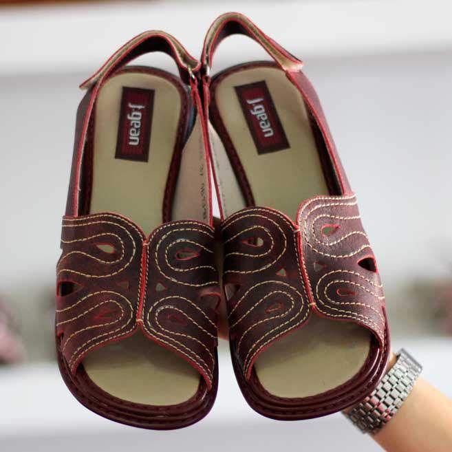 Sandália Em couro Confortável Joanete Fascite Plantar Retrô Vintage  DQ0003