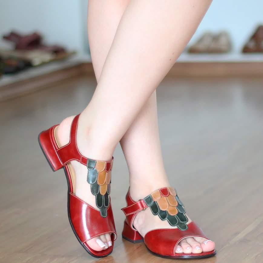 Sandália Feminina Baixa Estilo Retrô Vintage Vermelha 5748
