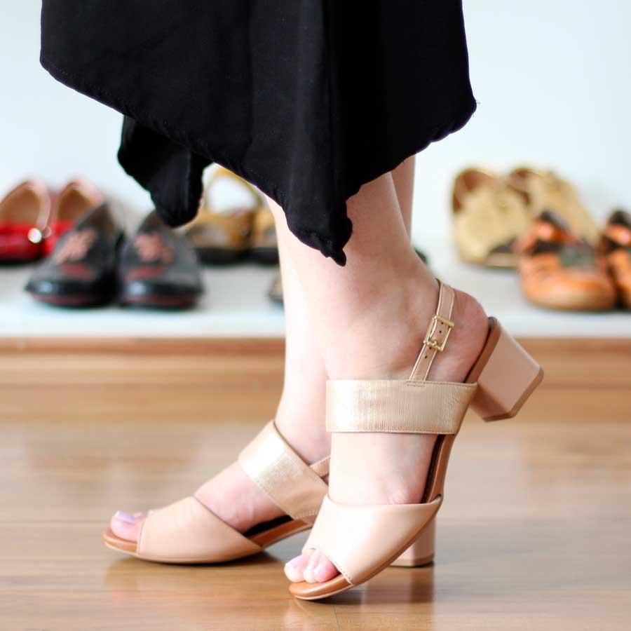 Sandália Feminina Confortável Usaflex Salto Separado Médio AC4708