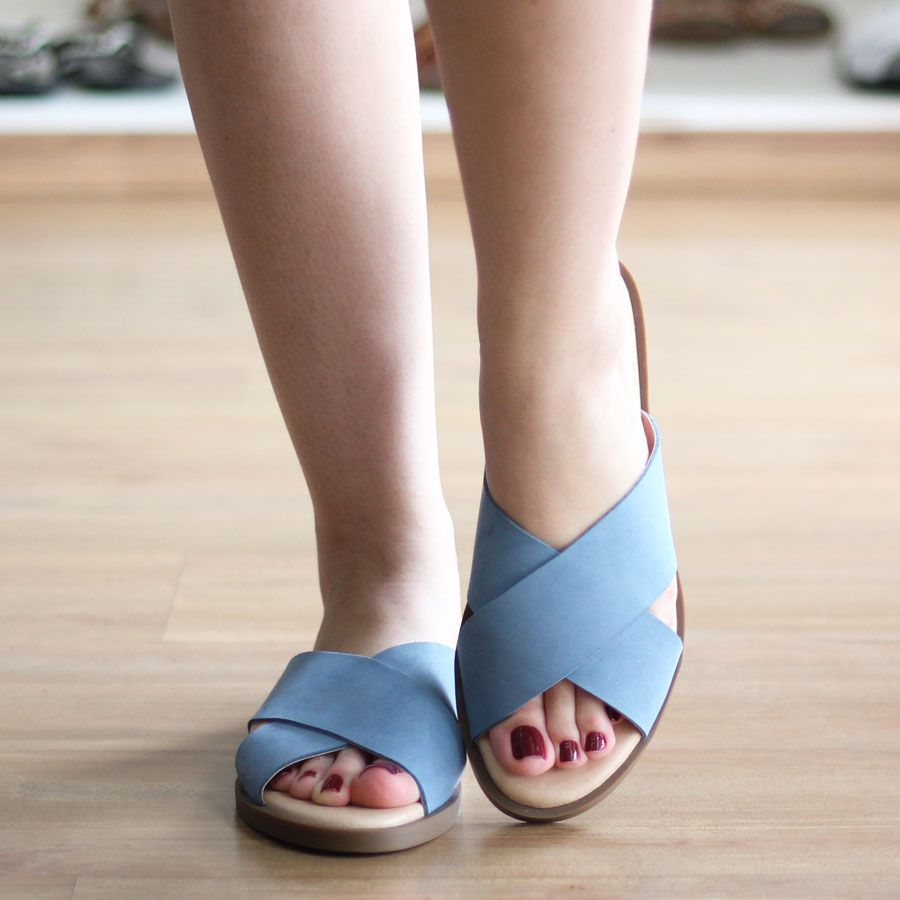 Sandália Feminina Rasteira Estilo Chinelo 7066 Azul