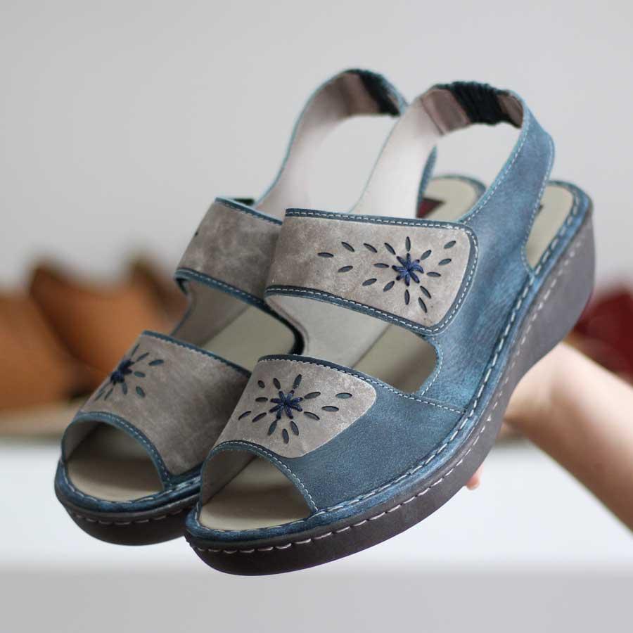 Sandália feminina Retrô Vintage Em Couro  Com Velcro Salto Anabela EE0024