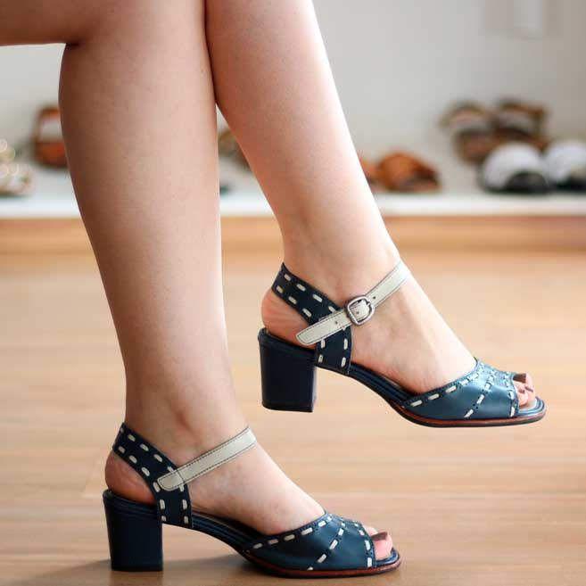 Sandália Salto Grosso Estilo Retrô Vintage BP0103 Azul