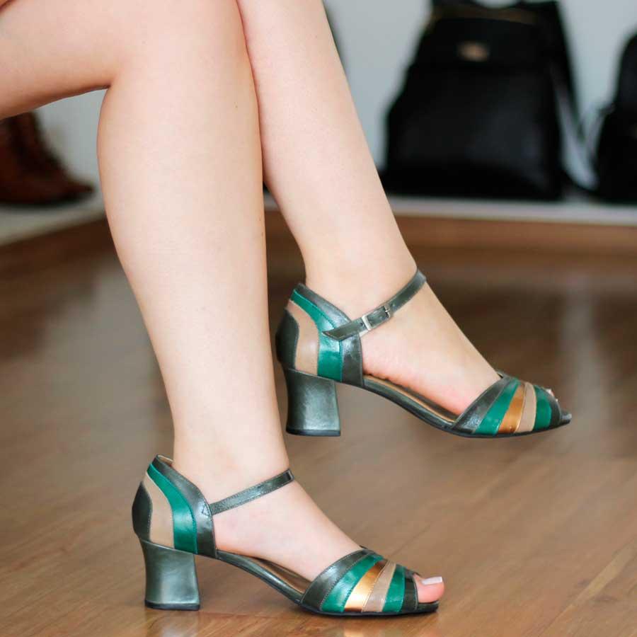 Sandália Salto Grosso Estilo Retrô Vintage Verde 7844