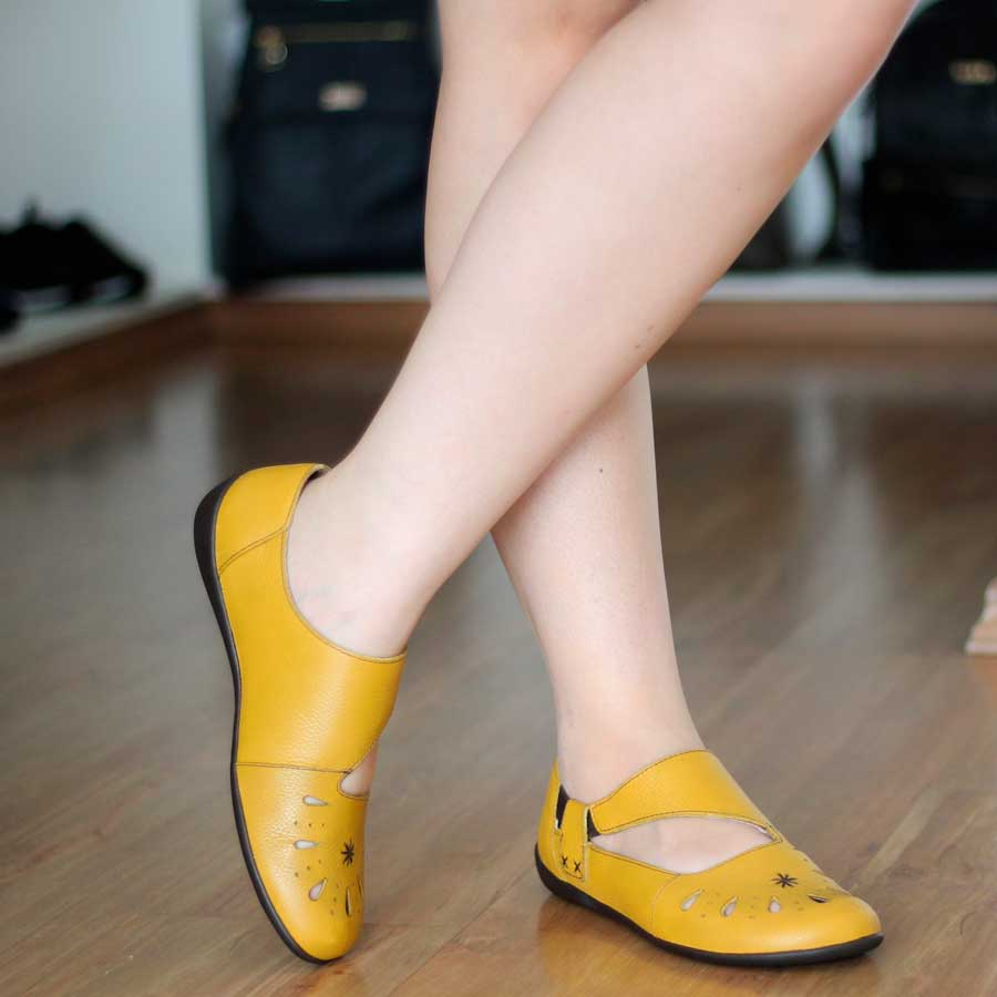 Sapatilha Em Couro Retrô Vintage Confortável Amarelo 7535