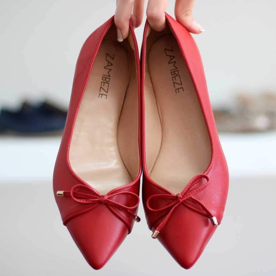 Sapatilha Feminina Bico Fino Solado Baixo Rasteiro Vermelha 997