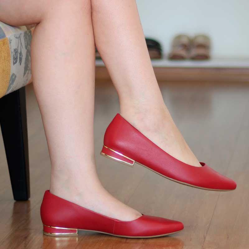 Sapatilha Feminina usaflex bico fino couro vermelho Z4601