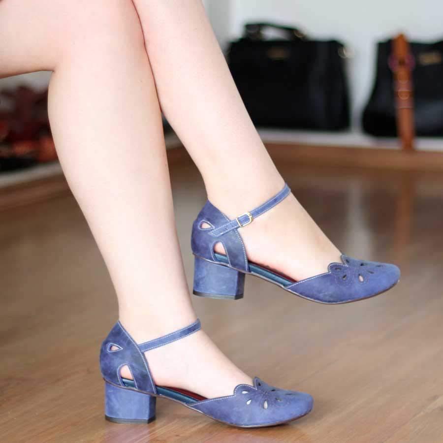 Sapato Boneca Azul Marine Salto Grosso Em Couro Estilo Retrô Vintage 0028