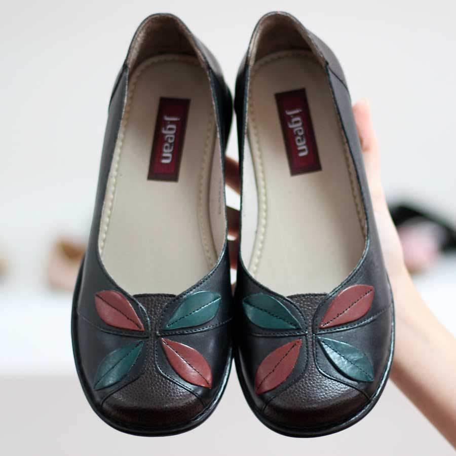 Sapato Boneca feminino Retrô Vintage Em Couro Legitimo Sapatilha Preto 0046