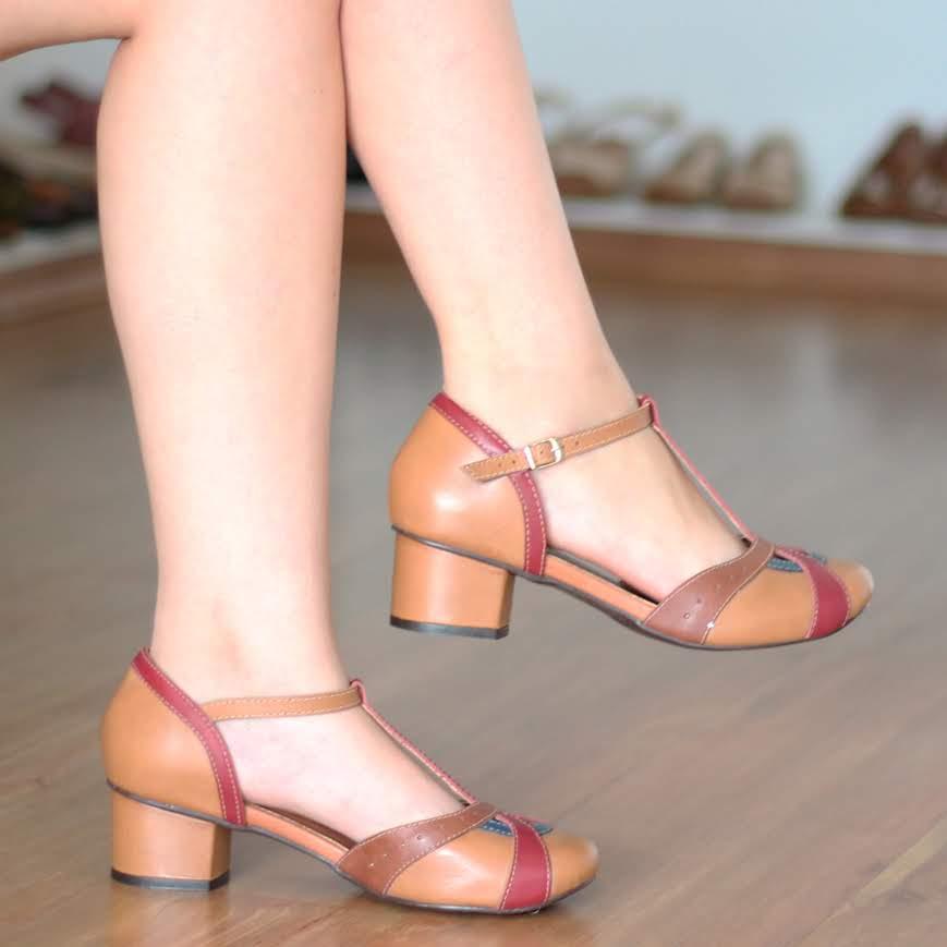 Sapato Boneca Salto Grosso Quadrado Em Couro Estilo Retrô Vintage 0023