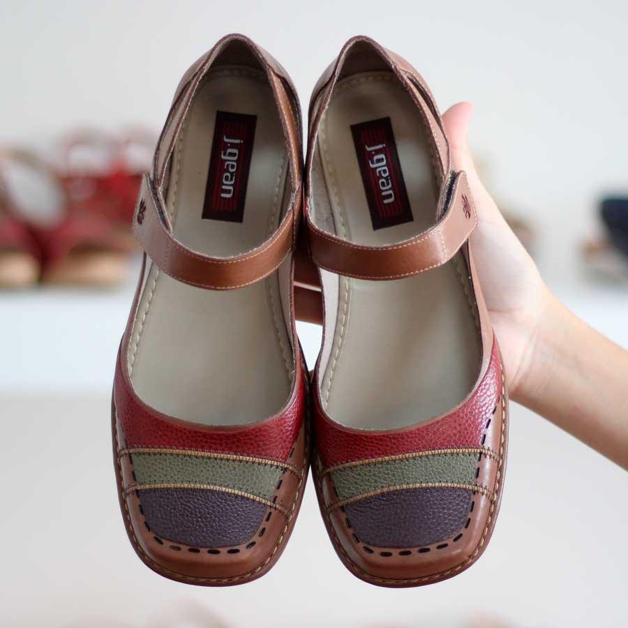 Sapato Boneca Salto Grosso Quadrado Estilo Retrô Vintage Caramelo DX0009
