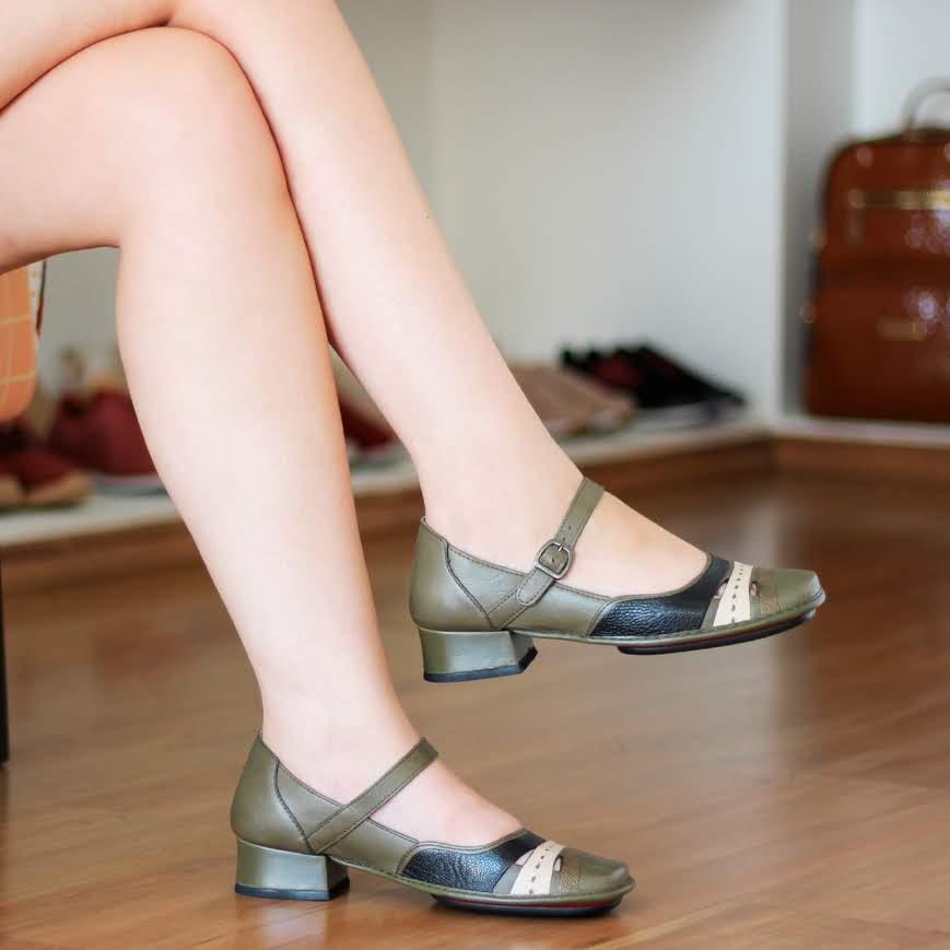 Sapato Boneca Salto Grosso Quadrado Estilo Retrô Vintage Verde DX0010