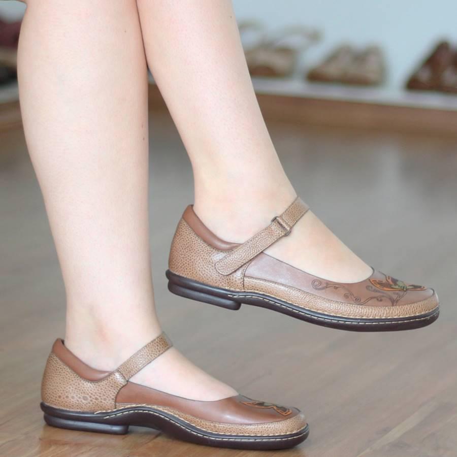 Sapato Boneca Sapatilha feminina Retrô Vintage Em Couro Ocre  AM0215