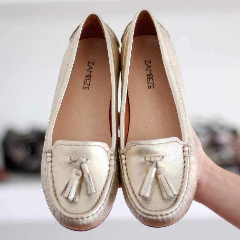 Sapato Feminino Baixo Em Couro Estilo Mocassim 1435