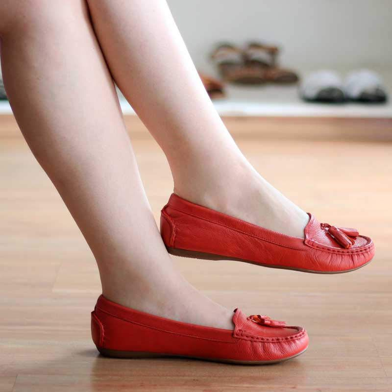 Sapato Feminino Baixo Em Couro Estilo Mocassim 2106