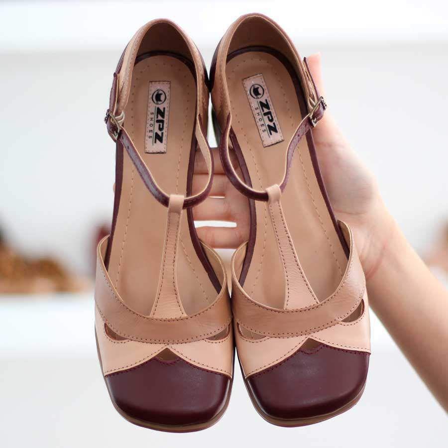 Sapato Feminino Boneca Salto Grosso Quadrado Estilo Retrô Vintage 632