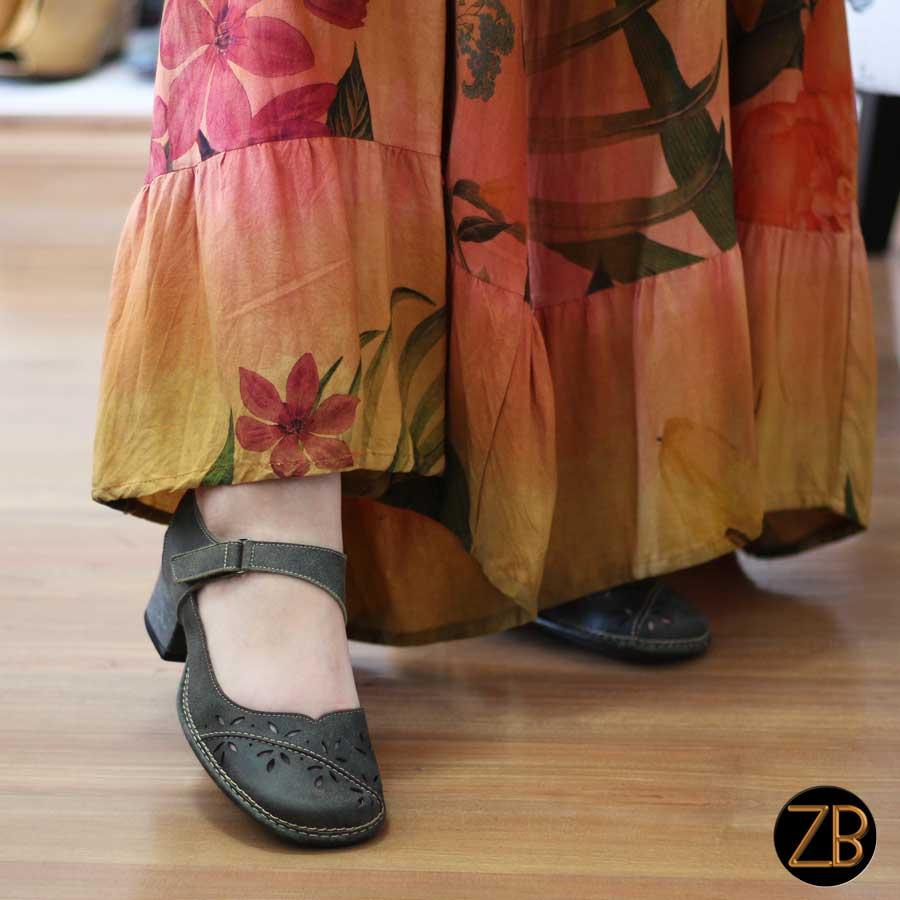 Sapato Feminino Boneca Salto Grosso Quadrado Estilo Retrô Vintage  Verde 0120
