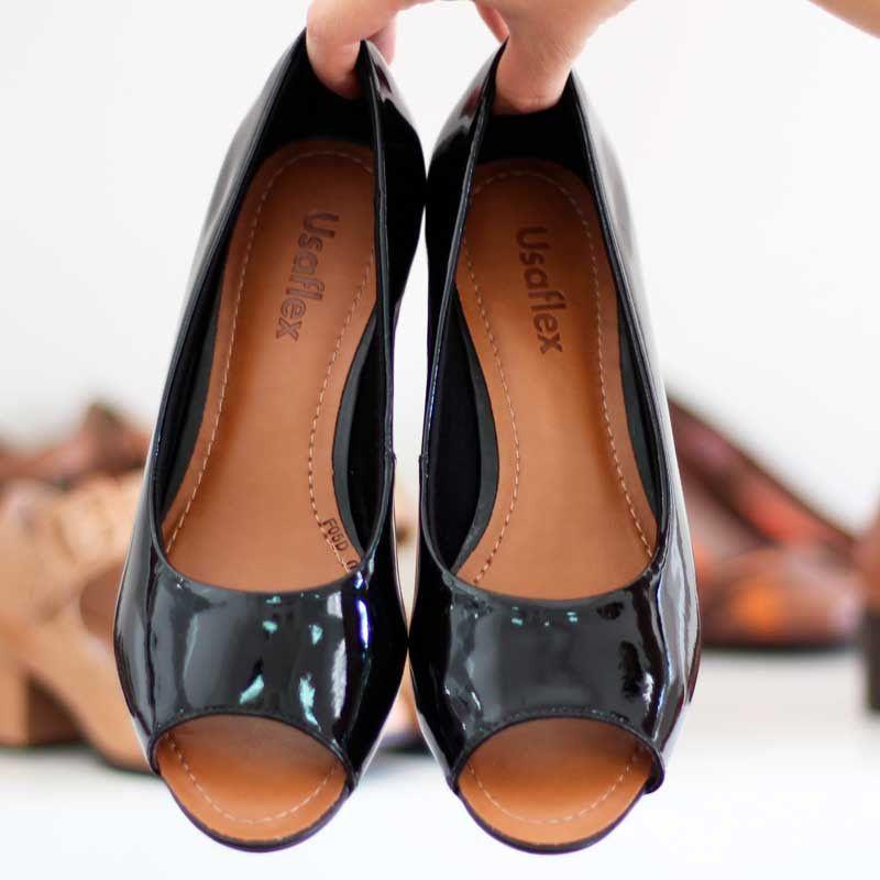 Sapato Feminino Confortável Usaflex Salto Grosso Peep Toe W5601