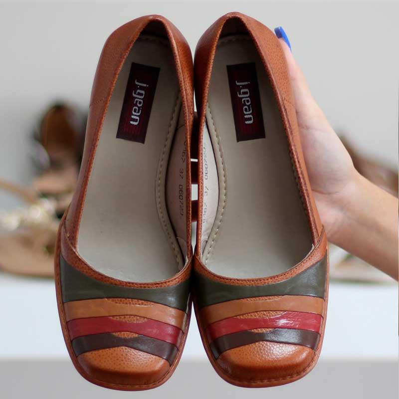 Sapato Feminino Em Couro Vintage Retrô Salto Grosso Alto  AR0167