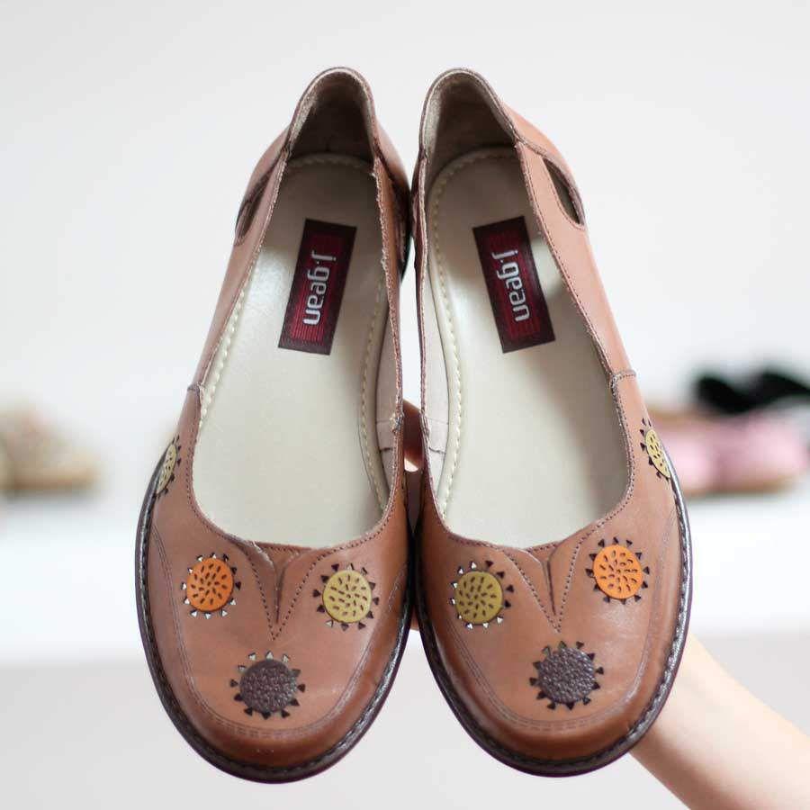 Sapato feminino Retrô Vintage Em Couro Legitimo Sapatilha Caramelo 0033