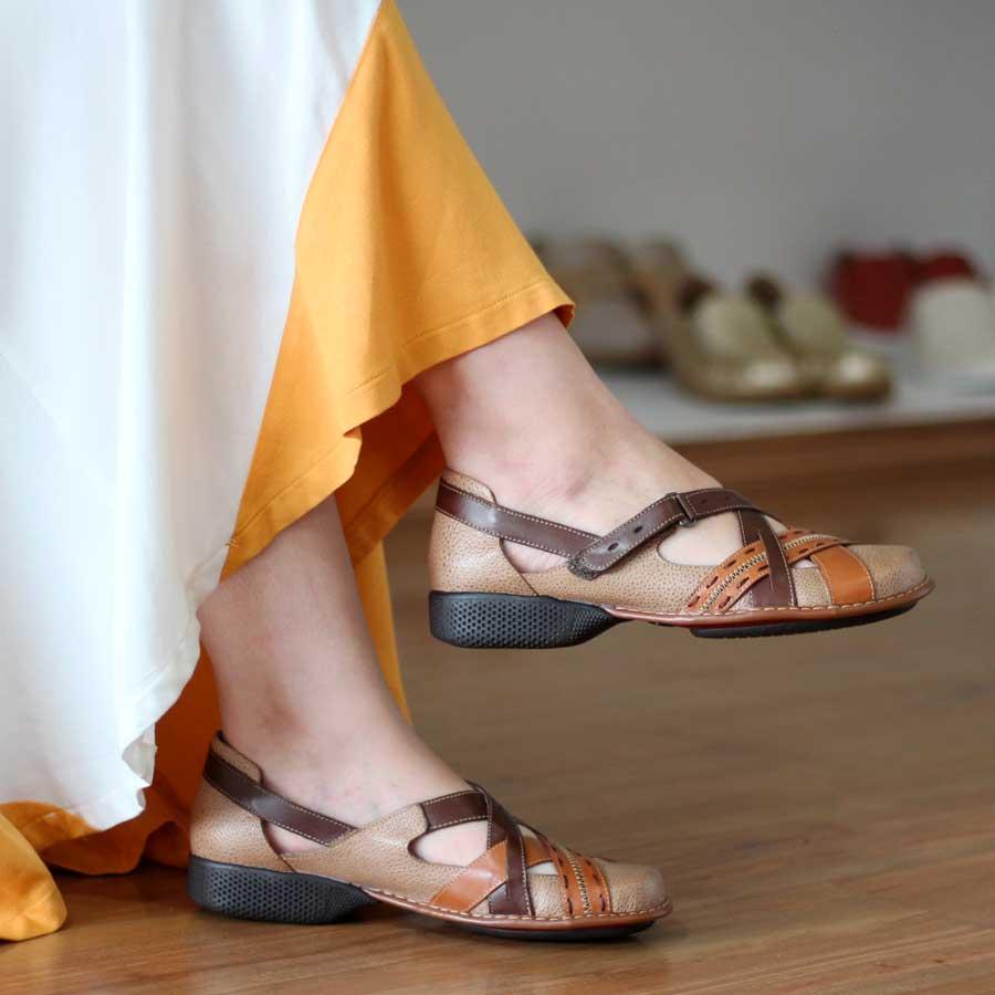 Sapato feminino Retrô Vintage Em Couro Legitimo Sapatilha DA0009