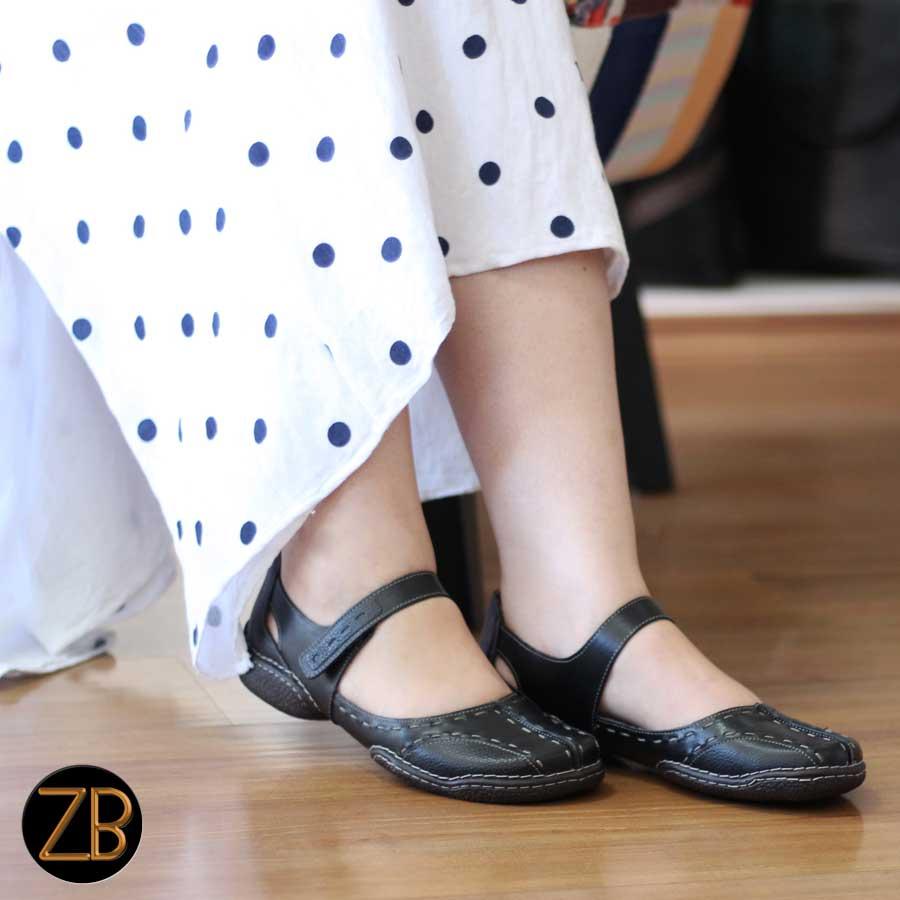 Sapato Feminino Retrô Vintage Em Couro Legitimo Sapatilha Preta 0048