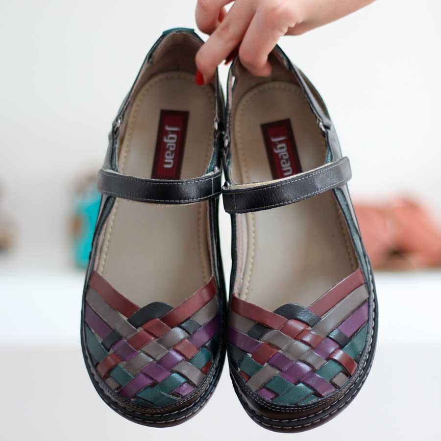 Sapato Feminino Retrô Vintage Em Couro Legitimo Sapatilha Preta 0213
