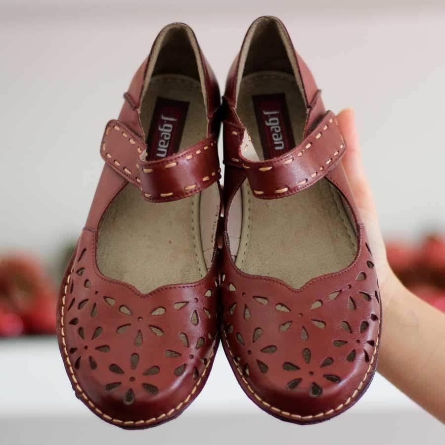 Sapato feminino Retrô Vintage Em Couro Legitimo Sapatilha Vermelha CN0008