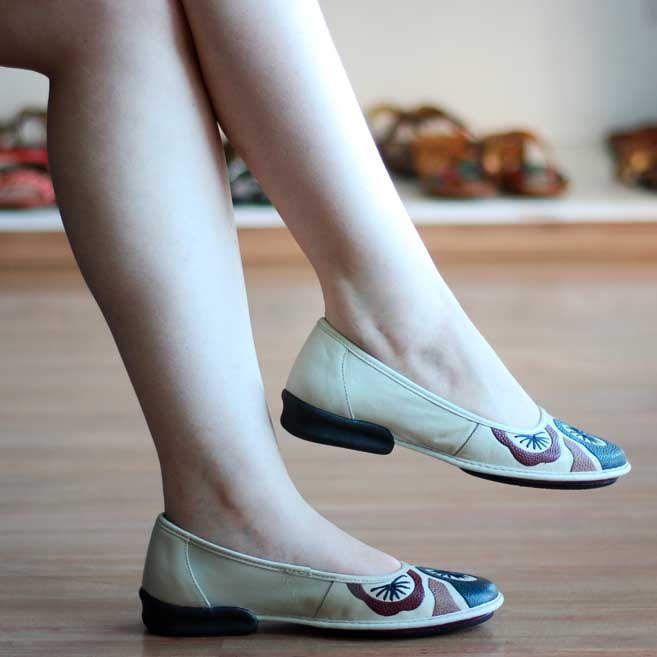 Sapato feminino Retrô Vintage Sapatilha Couro Fascite Plantar 0026