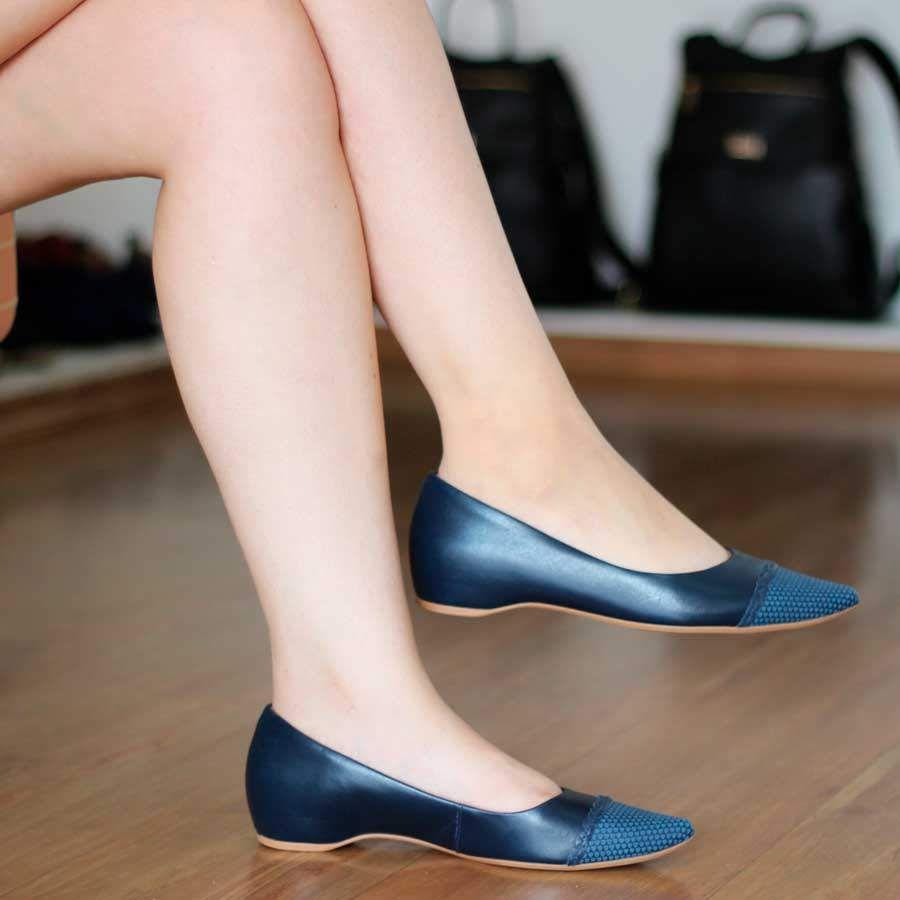 Sapato Feminino Usaflex Couro Azul Salto Embutido Bico Fino 5802