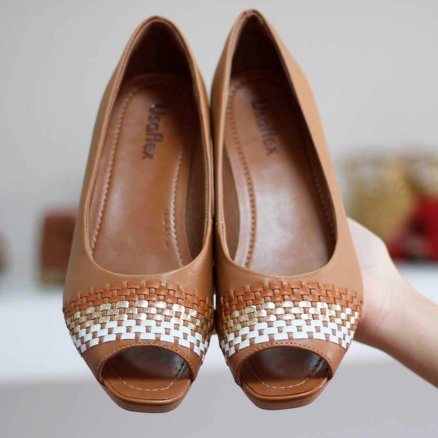 Sapato Feminino Usaflex Couro Bege Salto Médio Meia Pata Peep Toe 2302