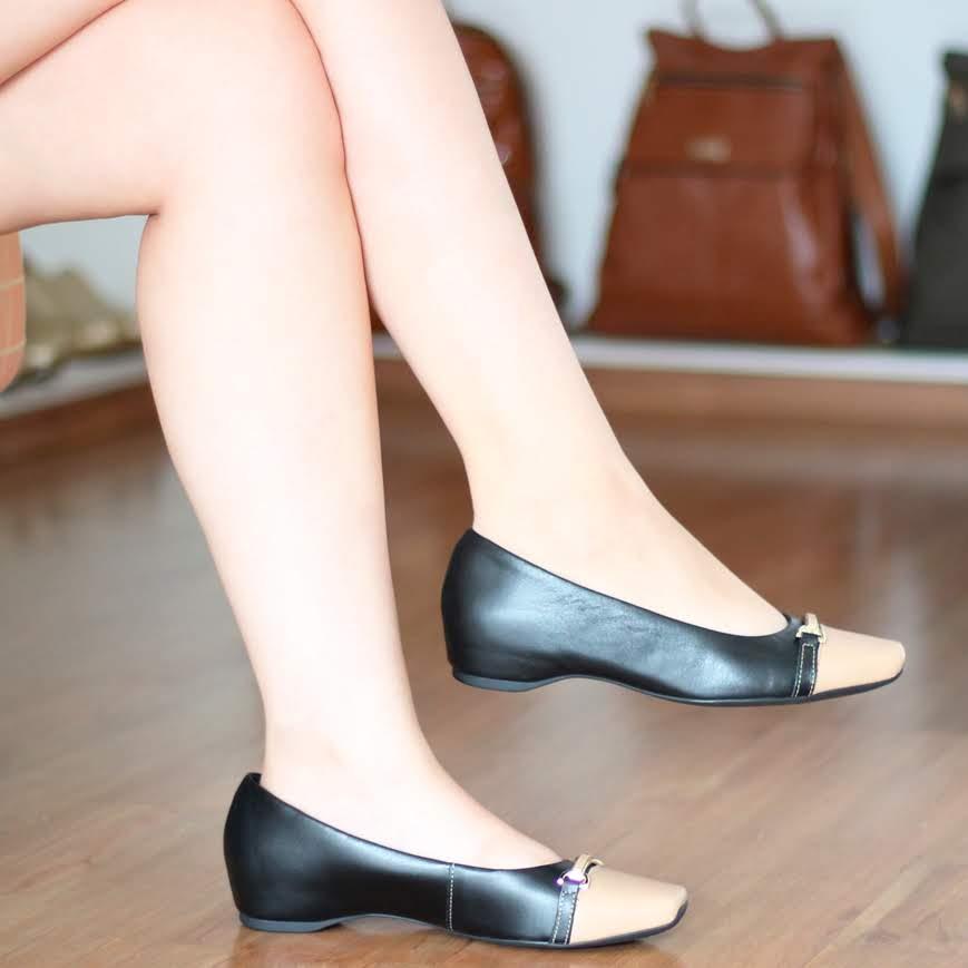 Sapato Feminino Usaflex Couro Preto e Bege Salto Embutido AD0206