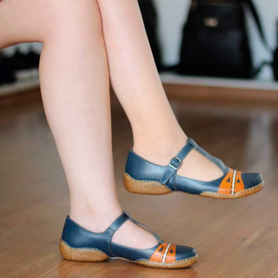 Sapato Sapatilha feminino Retrô Vintage Em Couro Legitimo CL0045