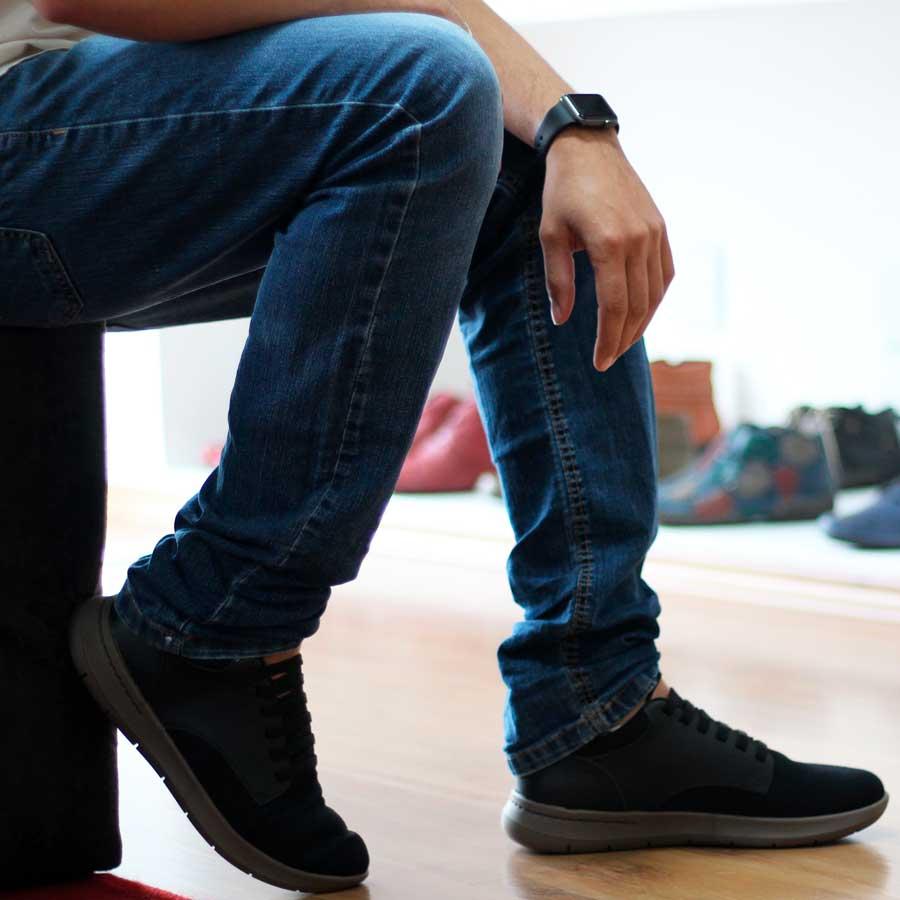 Sapato Tênis Masculino Couro e  Laycra Preto Usaflex Conforto AA2902