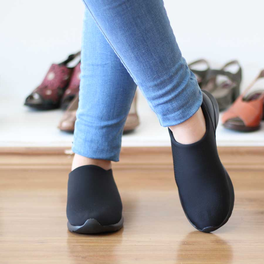 Sapato Unissex Solado conforto Tecido Lycra Preto Diabetes 404