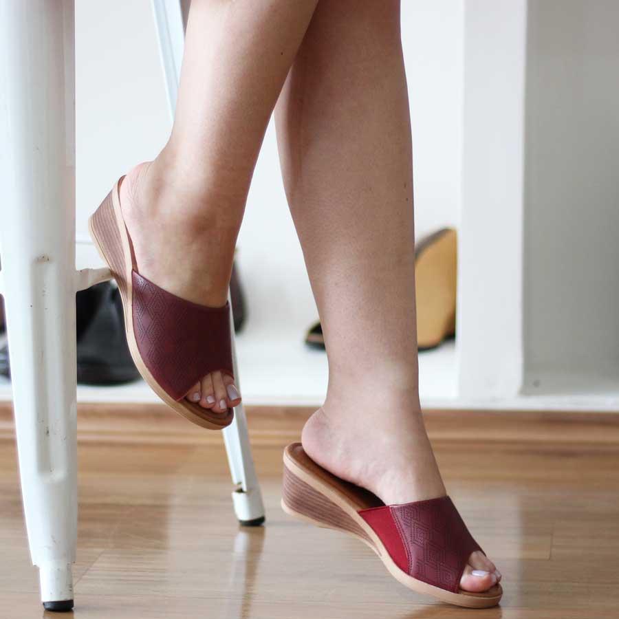Tamanco Feminino Usaflex Confortável  Salto Anabela  AF0703