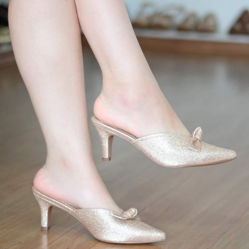 Tamanco Mule Bico Fino Feminino em Glitter Cobre Dourado 980